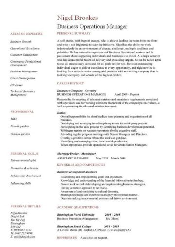 business operations manager resume examples  cv  templates