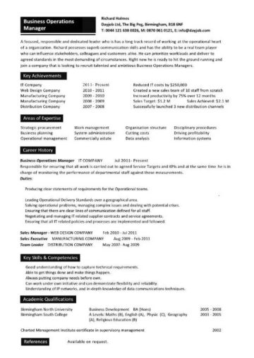business operations manager resume 10