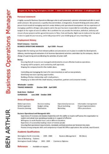 business operations manager resume 5