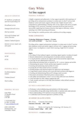 1st line support CV template