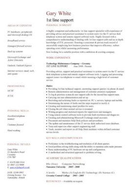 1st line support CV template