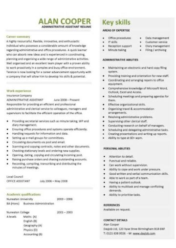 administration cv template  free administrative cvs  administrator job description  office