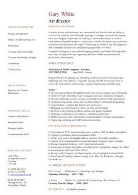 art director CV template