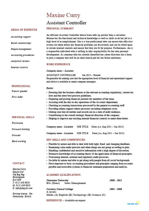 assistant controller resume  sample  example  accounting  finance  job description  work