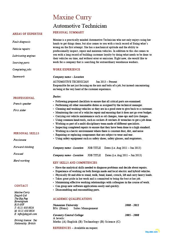 Automotive Technician Resume Vehicles Template Example