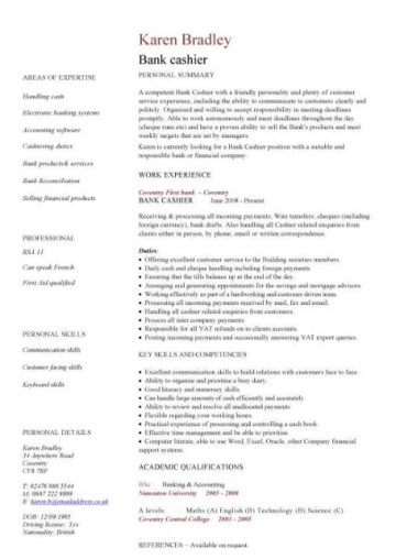 bank cashier CV template