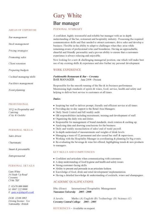 Bar Manager Cv Sample Job Description Assess Pub Performance