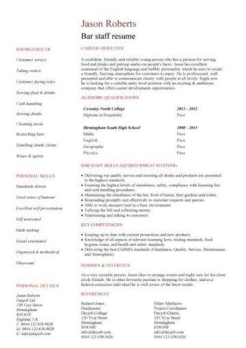 bar staff resume template