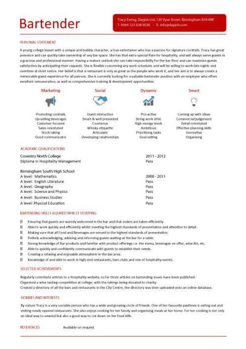 Student entry level Bartender resume template