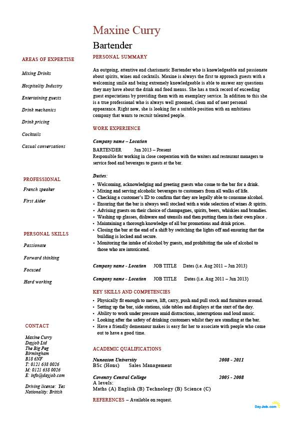 Bartender Resume Hospitality Example Sample Job Description