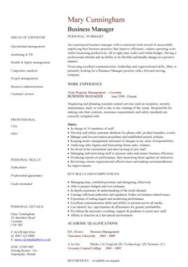 business manager CV template