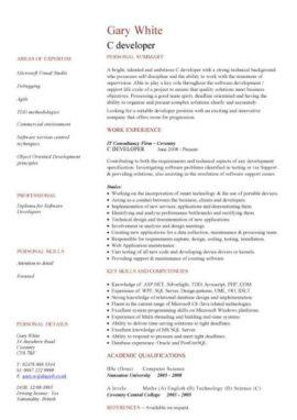 C developer CV template