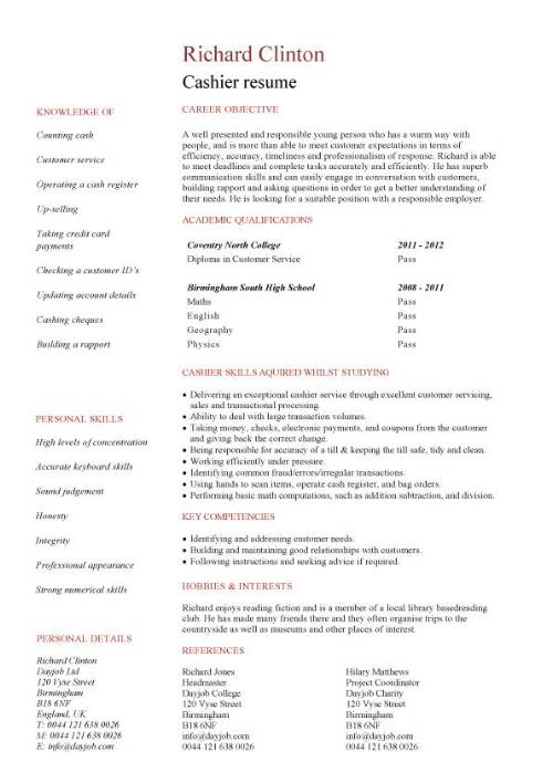 Student Entry Level Cashier Resume Template