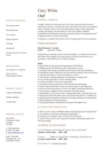 free catering cv template samples  catering jobs  event