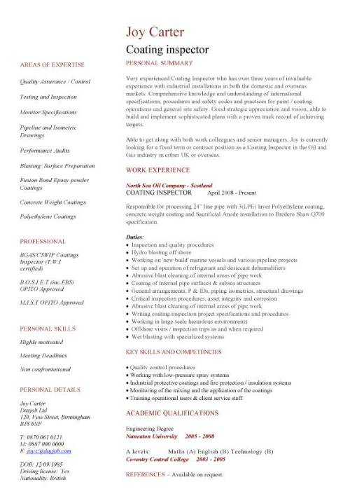 coating inspector cv sample  engineering jobs  painting  professionally written resume