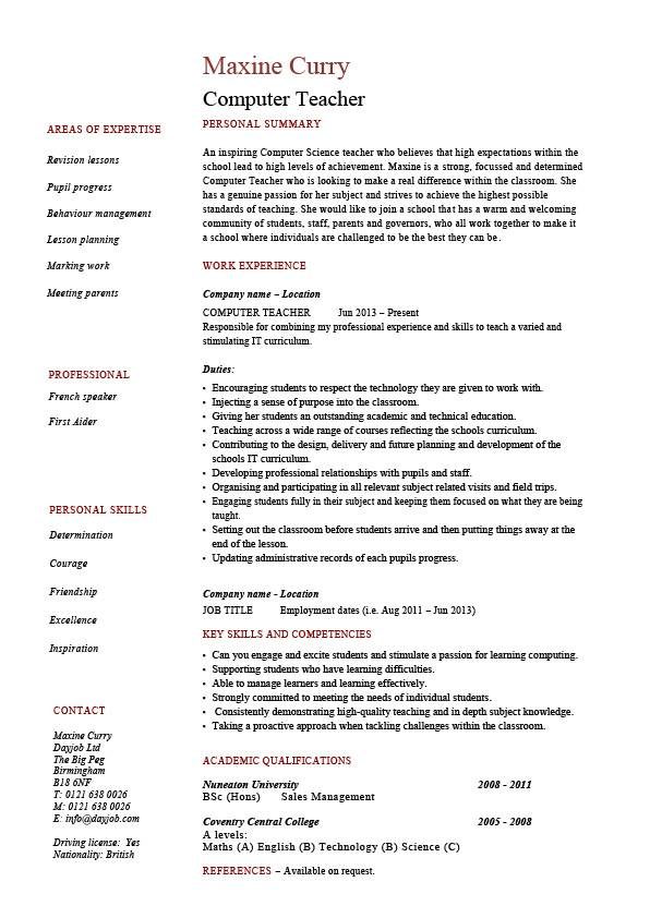 Computer Teacher Resume Example Sample It Teaching Skills