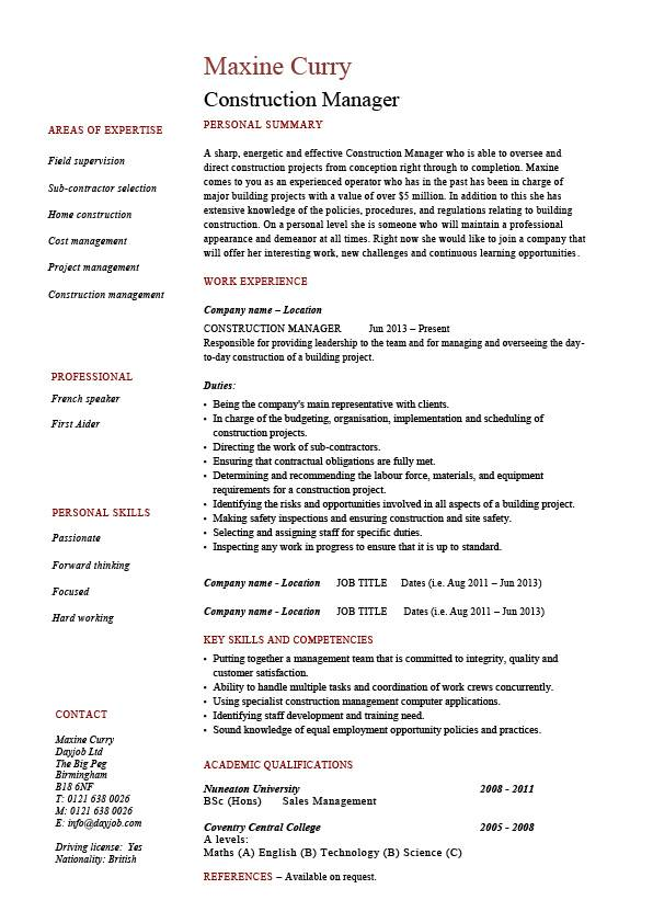 construction manager cv template  building industry  references  work history  construction projects