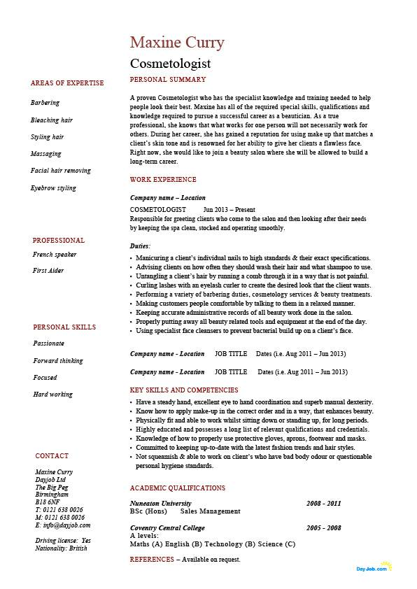 cosmetologist resume  barbering  make up  example  sample