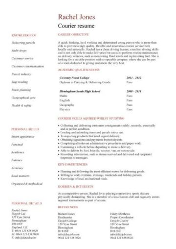 entry level courier resume template