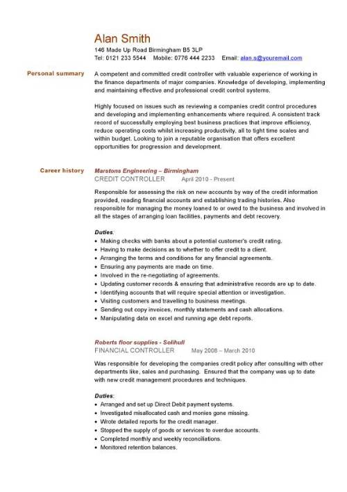 credit controller cv sample  managing information or