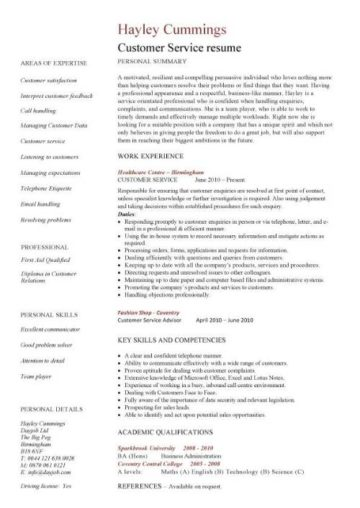 Customer Service Resume 1 Pic