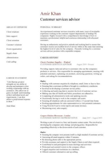 customer services advisor CV