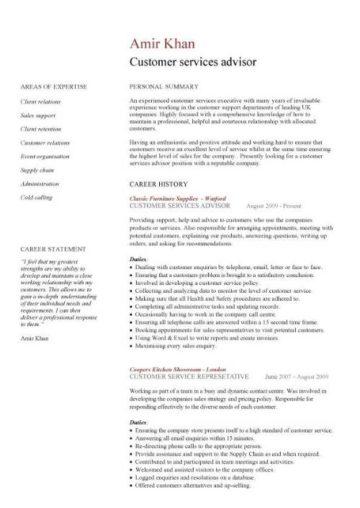 customer services advisor CV