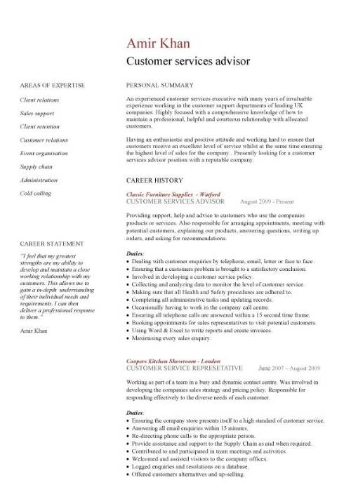 sample cv for customer service