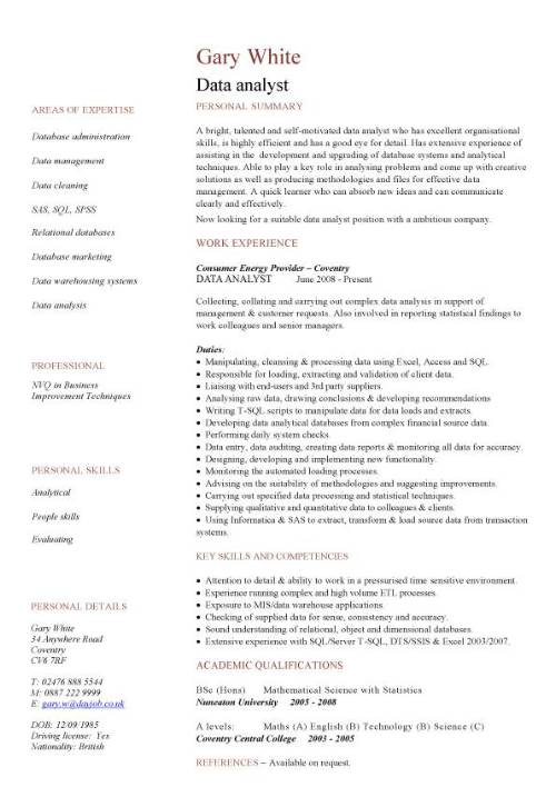 data analyst cv sample  experience of data analysis and data migration  cv writing