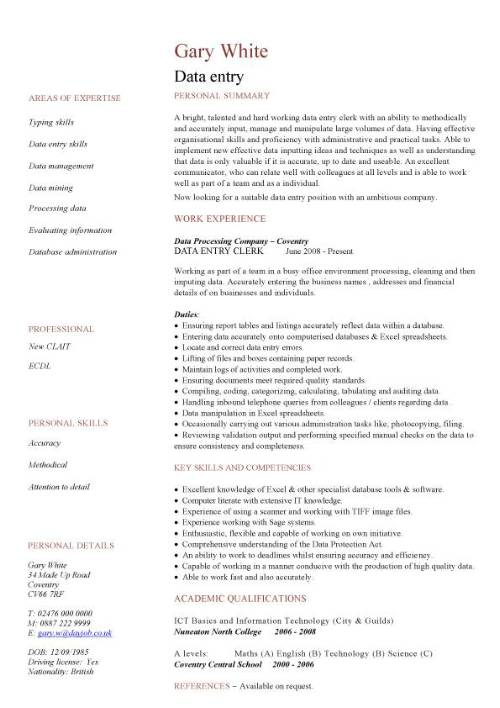 Data Entry Cv Sample Accurate Data Entry Experience Of Working In A Busy Office