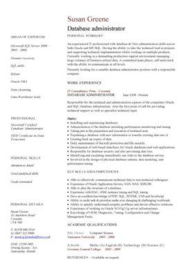 database administrator CV template