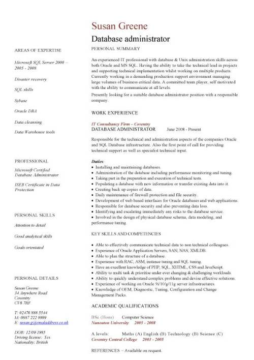 database administrator cv sample  maintenance of the databases