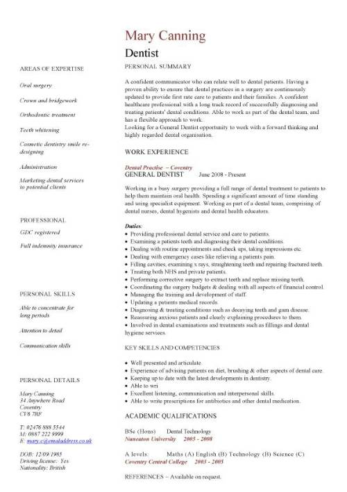 dentist cv sample  cleaning  filling  extracting and replacing teeth