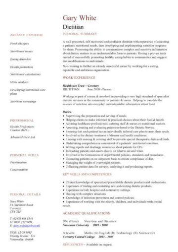 dietitian CV template