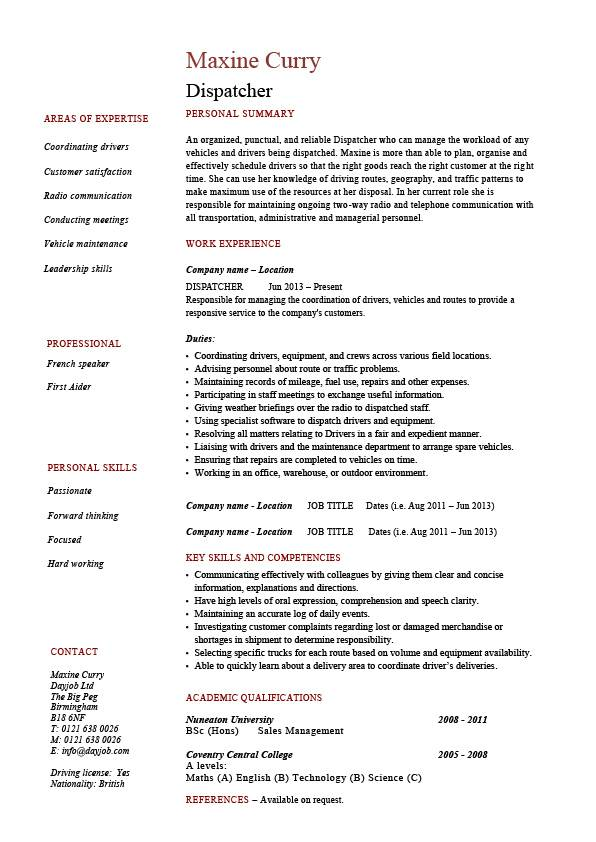 Dispatcher Resume Driver Templates Job Description Examples