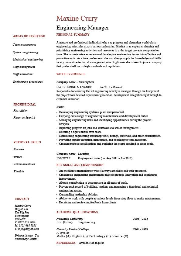 engineering manager resume  sample  template  example  managerial  cv  job description  work