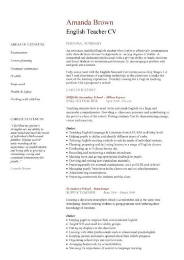teacher cv template  lessons  pupils  teaching job  school