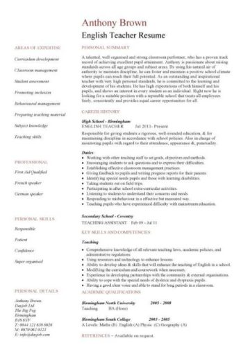 English Teacher Cv Sample Assign And Grade Class Work Homework