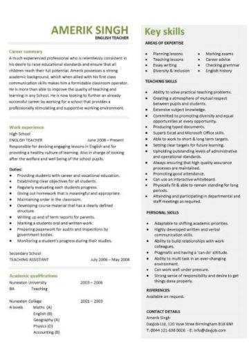 english teacher resume template  cv  examples  teaching