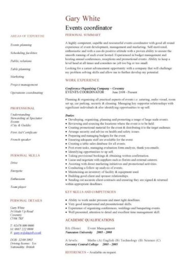 events coordinator CV template