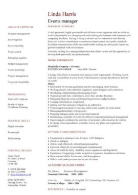 events manager CV template
