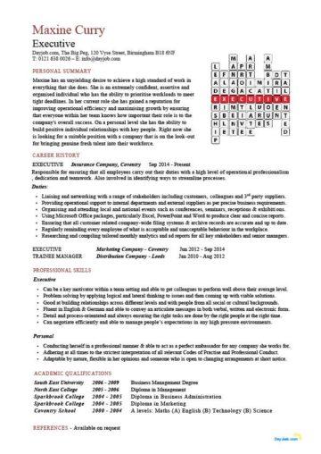 executive CV crossword template