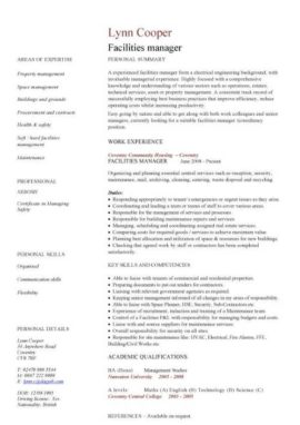 facilities manager CV template