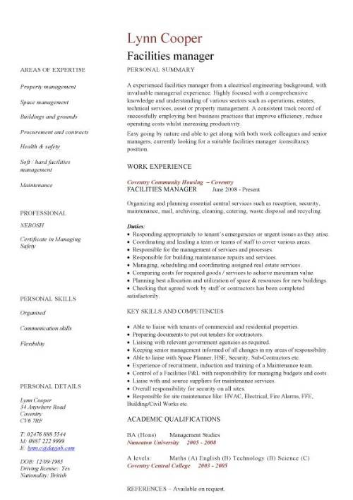 facilities manager cv sample  ultimately delivering