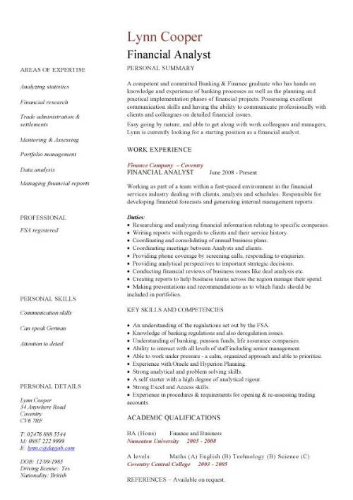 financial analyst cv sample  interrogating financial data  financial services  resume