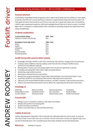 entry level forklift driver resume template