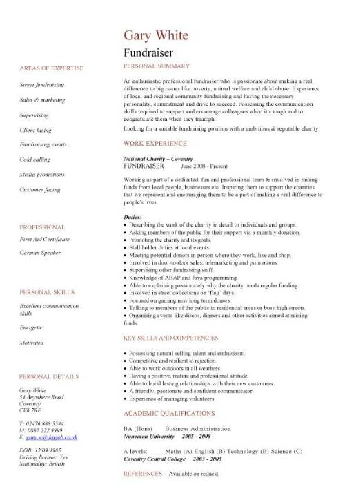 fundraiser cv sample  good persuasive  interpersonal  it  organisational and administrative skills