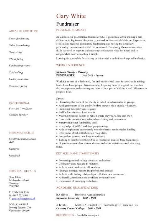 fundraiser CV sample  good persuasive  interpersonal  IT  anisational and administrative skills