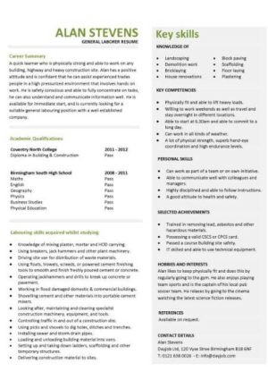 entry level general laborer resume template