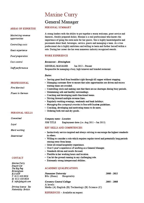 General manager resume, CV, example, job description, sample ...